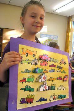 Grundschule Hofstede - James Rizzi-Bilder im Kunstunterricht der 3. Klasse