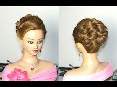 Prom hairstyles for medium long hair. Прическа на выпускной, свадебная прическа. - YouTube
