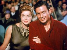 Esther Williams and Cliff Robertson on the set of THE BIG SHOW(1961). This is a remake of House of Strangers with Richard Conte.