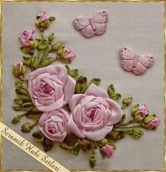 Eu Amo Artesanato: Como fazer a folha e flor de bordado com fita passo a passo