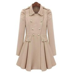 Beige Pleated Long Sleeve Buttons Ruffles Coat ($82) ❤ liked on Polyvore