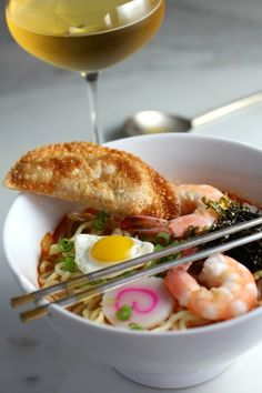 Seafood Kimchi Ramen with Shrimp & Kimchi Fried Dumpling Recipe! Sounds like it would have incredible flavours!
