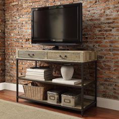TRIBECCA HOME Sadie Industrial Rustic Open Shelf Drawers Media Console - Overstock Shopping - Great Deals on Tribecca Home Entertainment Centers