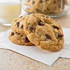 My FAVORITE chocolate chip cookie recipe. I just make regular sized cookies from this recipe. I cut each sugar by 1/4 cup and add 1/2 bag more chocolate chips. I add chopped walnuts too