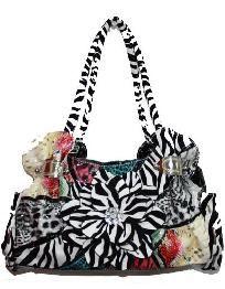 Zebra Print Patchwork Handbag w/ Flower $34.99