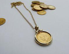 תליון זהב למטבע זהב אליזבט. | ברמן - סטודיו לתכשיטים | מרמלדה מרקט