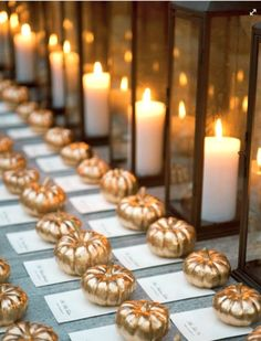 "Mini Pumpkins - seating display. Usually not a fan of pumpkins as default ""fall"" decor, but gold pumpkins? Win."