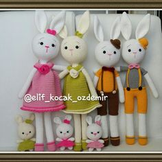 Amigurumi bunny amigurumi tavşan Crotchet Animals, Crochet Animal Amigurumi, Crochet Animal Patterns, Amigurumi Toys, Stuffed Animal Patterns, Crochet Dolls, Crochet Yarn, Crochet Rabbit, Cute Crochet