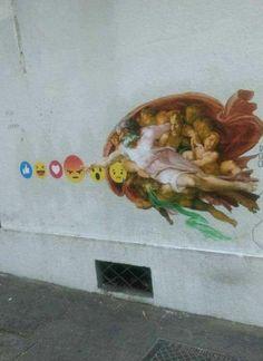 #photo #art #streetart #street #wall #graffiti #sistinechapel #creationofadam #remake #smiley #emoji #god #artist #contemporaryart #modernart #postmodern #jpg #postmodernjpg