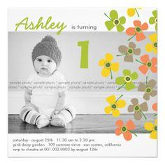 fatfatin Daisy Pop Lime Photo Birthday Invite