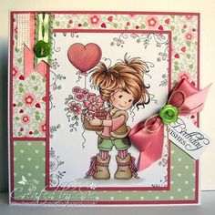 beautiful papers perfectly presenting the Hobby House topper just a gorgeous card Pretty Cards, Cute Cards, Decorated Gift Bags, Hobby House, Whimsy Stamps, Beautiful Handmade Cards, Card Making Inspiration, Card Sketches, Copics