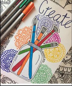 Pin by karina valdivieso on mandalas in 2019 Colorful Drawings, Easy Drawings, Dibujos Zentangle Art, Posca Art, Sharpie Art, Bullet Journal Ideas Pages, Mandala Drawing, Pen Art, Zentangle Patterns