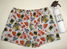 Too Hot to Handle Fireman Boxer Shorts.  by SewnWithPassion