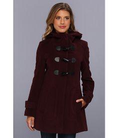 Cole Haan Wool Plush Hooded Toggle Coat Burgundy