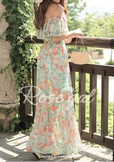 Floral Print Short Sleeve Off The Shoulder Ruffled Women's Bohemian Dress Maxi Dresses | RoseGal.com Mobile