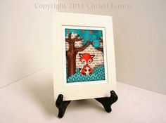 Red Fox Cub Nursery Picture Art Print Recycled Paper for Boys or Girls 5 x 7 matted orange, turquoise, brown. $15.00, via Etsy.