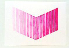 Neon Pink Ombre Chevron Painting / Original Tribal Arrow Watercolor / Hot Pink Gradient Chevron
