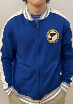 St Louis Blues Mens Blue Circle Note Track Jacket - 17258997 St Louis Blues, Collar And Cuff, Great Books, Track, Note, Long Live, Sleeves, Cuffs, Pride
