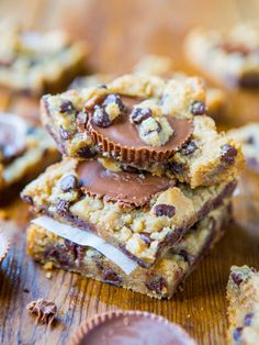 Two-Ingredient Peanut Butter Cup Chocolate Chip Cookie Dough Bars (Gluten-Free) - The fastest & best tasting 2-ingredient bars you'll ever make!