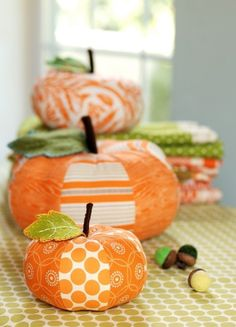 PDF Sewing Pattern Patchwork Pumpkins  Pattern's not free, but you could make your own! (6 panels 3 in x 7 in, sketch the pointed oval shape)