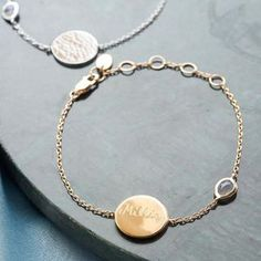 Personalised Hammered Disc And Gem Bracelet. Discover thoughtful, personal and wonderfully unique jewellery gifts for her this Christmas Cheap Fashion Jewelry, Diy Fashion Accessories, Thoughtful Gifts For Her, Handcrafted Jewelry, Unique Jewelry, Jewelry Gifts, Jewellery, Personalized Necklace, Or Rose