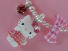 Handmade necklace with cartoon, glass pearls, swarovski fancy stones and French ribbons!