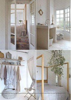 .... Bathroom Inspiration, Interior Inspiration, Rustic Style, Rustic Decor, Transitional House, Dream Bedroom, Master Bedroom, Beautiful Interiors, Ladder Decor