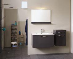 Set Mobila / Mobilier Baie modern mdf lacuit gri si alb  MYSTIC  4 | #Mobila Vanity, Bathroom Vanity, Bathroom