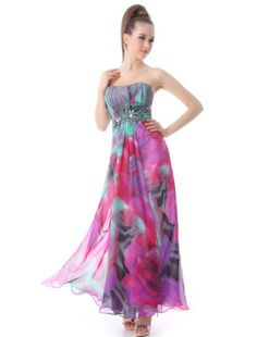 HE09203HP14 Hot Pink 12US Ever Pretty Rhinestones Ruffles Strapless Long Evening Dress 09203 ** Visit the image link more details. (Note:Amazon affiliate link)