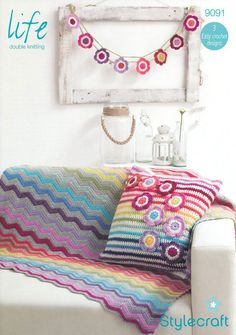 Blanket, Cushion Cover and Bunting in Life DK (9091) | Crochet Patterns | Crochet | Deramores