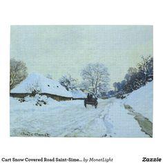 Cart Snow Covered Road Saint-Simeon Monet Fine Art Jigsaw Puzzle