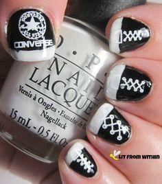 nails, nail art, converse, chuck taylor, nail art for nubs, nail art for short nails