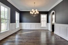 There's just something I love about dark grey walls.. oh and those floors  I'm in love with this room   <3♡ Dining room