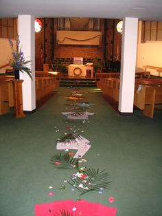 palm sunday possibly have kids lay these down as they enter... first the coats then back to bring palms, hand out to the congregation.  Blessed is He who comes in the name of the Lord... Hosanna!