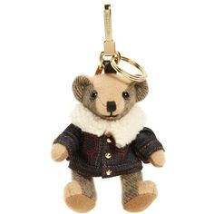 Women's Burberry Thomas Bear Lambskin Trim Cashmere Bag Charm ($295) ❤ liked on Polyvore featuring accessories, camel and burberry