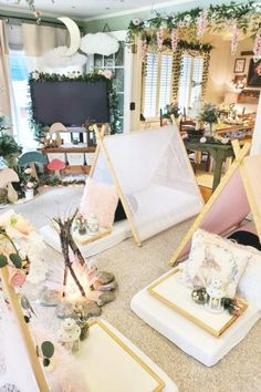 Take a look at the sweet teepees at this enchanted woodland birthday party. See more party ideas and share yours at CatchMyParty.com #catchmyparty #partyideas #4favoritepartiesoftheweek #woodland #woodlandparty #teepees #sleepover #rusticparty Panda Birthday Party, Themed Birthday Cakes, 1st Birthday Parties, Candy Decorations, Table Decorations, Construction Birthday Parties, Fun Cupcakes, Woodland Party, Party Planning