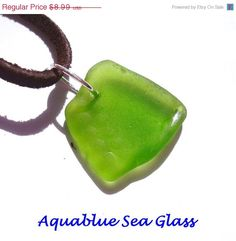 25 OFF ALL On SALE Drilled Sea Glass  Lime by aquablueseaglass, $6.74 FREE SHIPPING