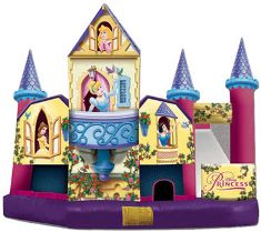 What princess party would be complete without a Disney Princess themed bounce house?  Instant entertainment -- for girls and boys!