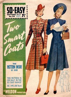 Weldons So-Easy 34 coat dress pattern 1940 British pattern 1940s Dresses, Vintage Dresses, Vintage Outfits, Vintage Clothing, Flapper Dresses, Retro Outfits, 1940s Fashion, Vintage Fashion, Vintage Style
