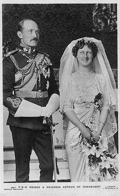 Princess Alexandra, Duchess of Fife (daughter of Louise, Princess Royal) to Prince Arthur of Connaught (son of Prince Arthur, Duke of Connaught, third son of Queen Victoria), October 15, 1913.