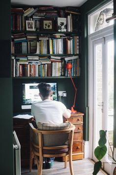 Charlotte Rey and Duncan Campbell — Creative Directors, Apartment Workplace, Camden, London — Desk Inspiration, Interior Inspiration, Scandinavian Style, Small Study, Green Curtains, Study Areas, Home Office Space, Green Rooms, Tiny House Design