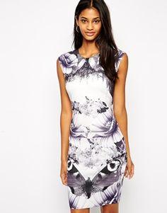 ASOS Scuba Bodycon Dress in Butterfly Mirror Print