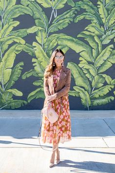 Pink and Tan Floral Midi Dress and Suede Jacket
