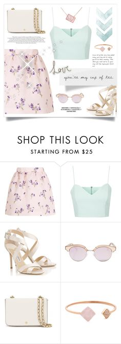"""""""FELL IN LOVE WITH SPRING"""" by paradiselemonade ❤ liked on Polyvore featuring RED Valentino, Topshop, Jimmy Choo, Le Specs Luxe, Tory Burch, Michael Kors and Ona Chan"""