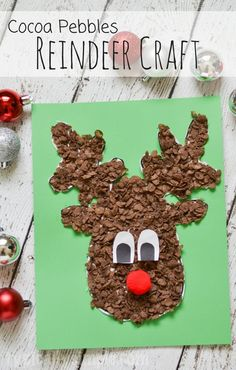 Using Cocoa Pebbles, create this super cute reindeer craft with the kids for Christmas! #CocoaPebbles #IC (ad)