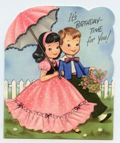 Girl and boy romance cute kids couple children vintage greeting card
