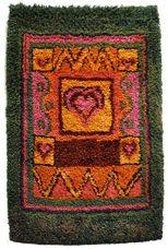 Leppäkerttu Rya Rug, Wool Rug, Hand Hooked Rugs, Tapestry Weaving, Carpet Design, Rug Hooking, Floor Rugs, Wall Hangings, Textile Art