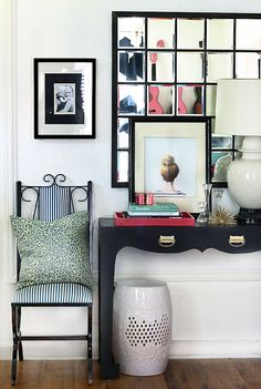 Black Console | Vintage Chair | Top Knot Print | Mirror
