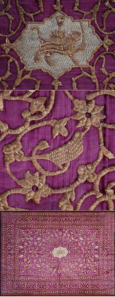 Persian Textile. Silk and Gold Embroidery on Silk Velvet Qajar Dynasty 1795-1925 A.D Circa 1880