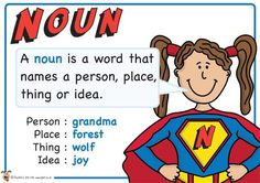 Noun. Superhero themed grammar resource for Literacy KS1 and KS2